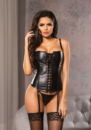 Faux Leather Lace Front Corset