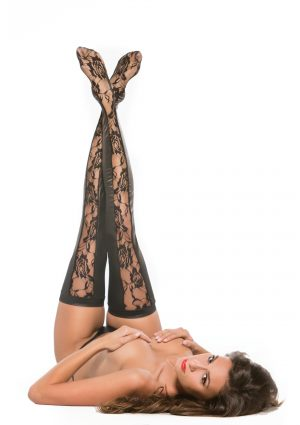 Lace Panel Thigh High Tights