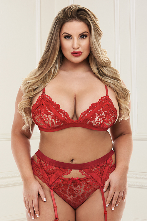 3PC LACE GARTER SET RED XL